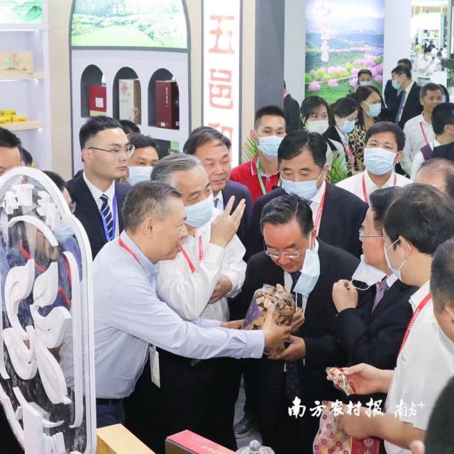 2021年5月21日,第四届中国国际茶叶博览会在杭州开幕,中央农办主任、农业农村部党组书记、部长唐仁健在广东展区巡展时,详细了解新会陈皮产业发展情况并大力点赞。图片来源南方农村报